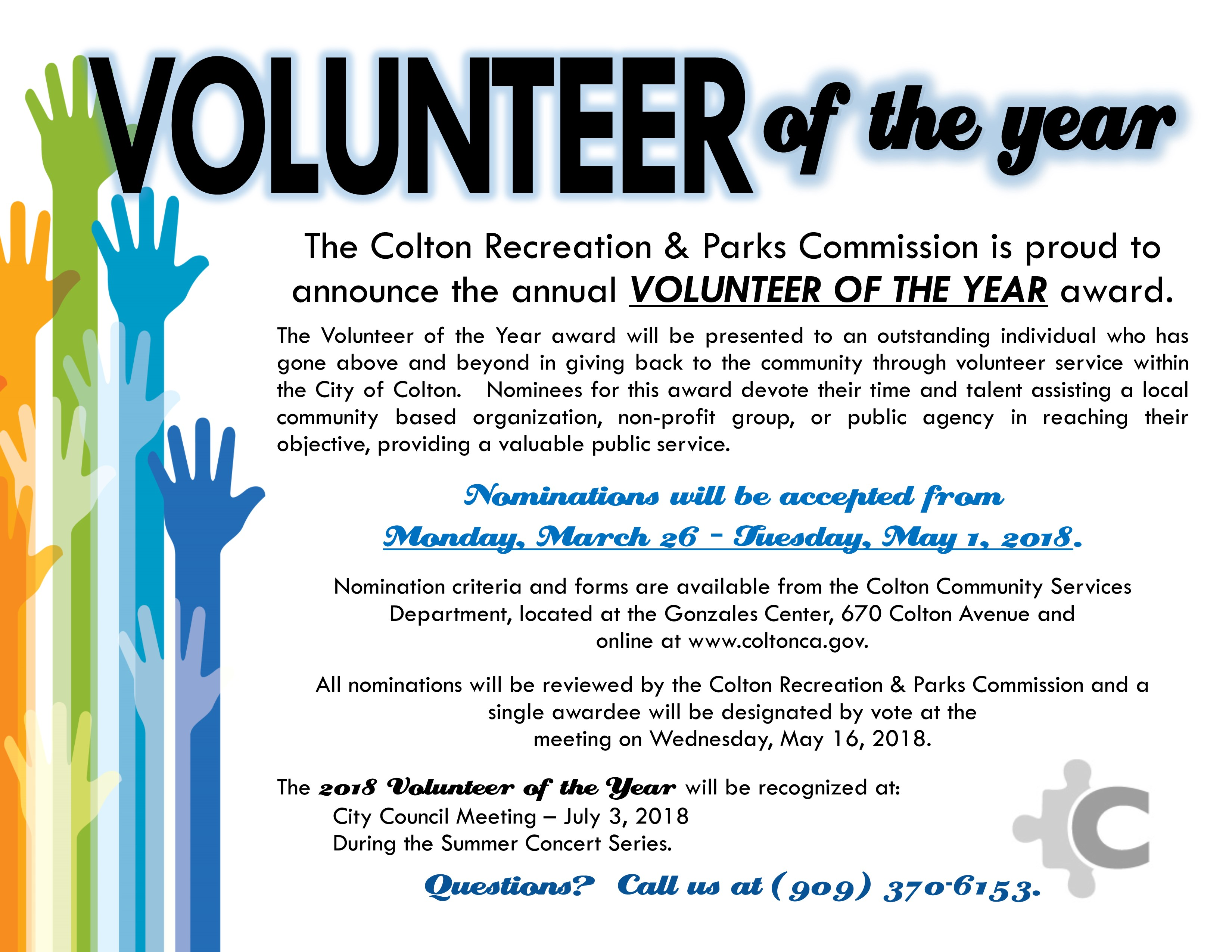 Volunteer of the Year Flyer